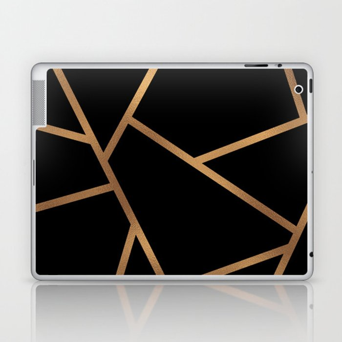 Black and Gold Fragments - Geometric Design Laptop & iPad Skin