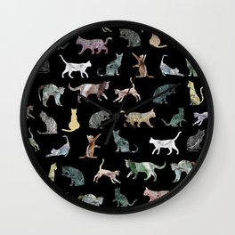 Cats shaped Marble - Black Wall Clock