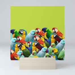 home decor pattern parrots Mini Art Print