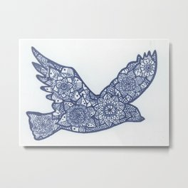 Bird Zentangle Metal Print