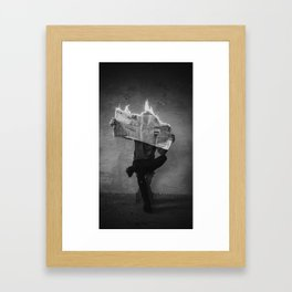 News on Fire (Baclk and White) Framed Art Print