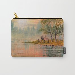 Elk Beside A misty River Carry-All Pouch
