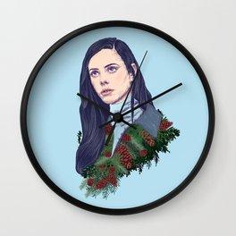 winter girl between pine cones and needles Wall Clock