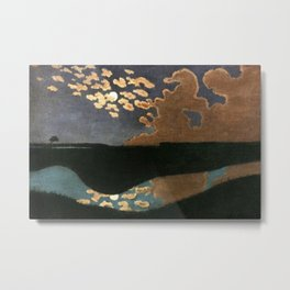 Moonlight reflections coastal landscape painting by Felix Vallotton Metal Print