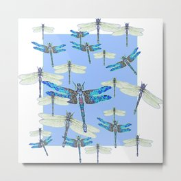 BLUE & GOSSAMER WHITE  DRAGONFLY SEASON ART Metal Print