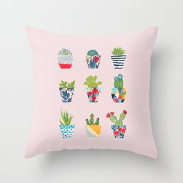 Funny cacti illustration Throw Pillow