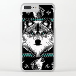 Merry Wolfmas Clear iPhone Case