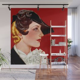 Art Deco Red Wall Mural