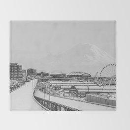 Seattle in White Throw Blanket