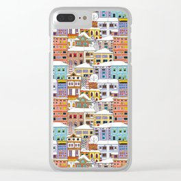 Winter town pattern Clear iPhone Case