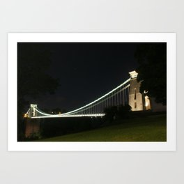 Clifton Suspension Bridge at night, from Clifton Art Print