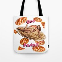 pasta Tote Bags featuring Que Pasta? by themattpeterson