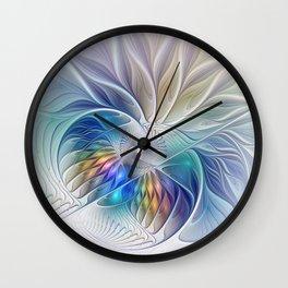 Floral Fantasy, Colorful Fractal Art Wall Clock