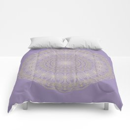 Lotus Mandala in Lavender and Gold Comforters