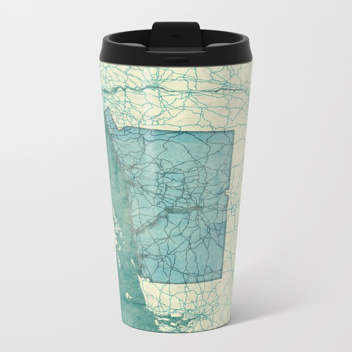 Connecticut State Map Blue Vintage Metal Travel Mug