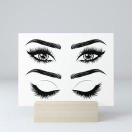 Eyes with long eyelashes and brows Mini Art Print