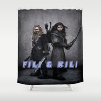 fili Shower Curtains featuring aidan turner,hobbit  , hobbit  games, hobbit  blanket, hobbit  duvet cover,kili & fili by ira gora