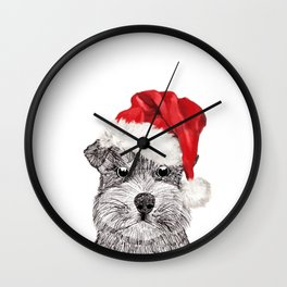 Christmas Schnauzer Wall Clock