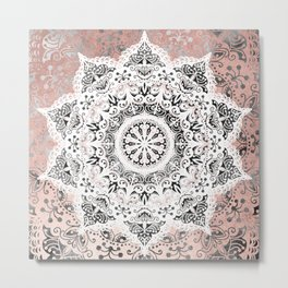 Dreamer Mandala White On Rose Gold Metal Print