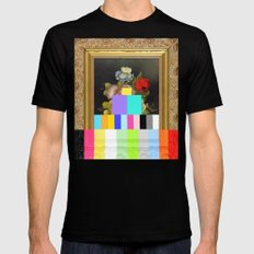 A Painting of Flowers With Color Bars SMALL Black Mens Fitted Tee
