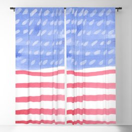 American Flag 4th of July watercolor design Blackout Curtain