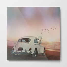 NEVER STOP EXPLORING A SUNDOWN Metal Print