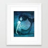 mermaid Framed Art Prints featuring Mermaid by Christian Schloe
