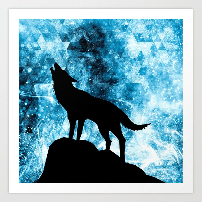 Howling Winter Wolf snowy blue smoke Art Print