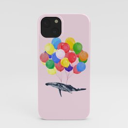 Flying Whale with Colourful balloons in Pink iPhone Case