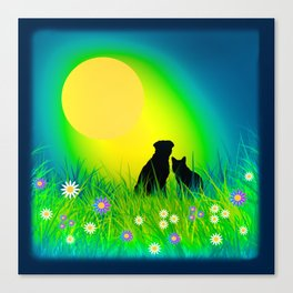 Cat, Dog, and Moon Canvas Print