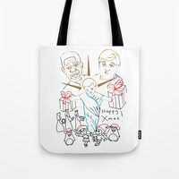 atheist Tote Bags featuring Atheist Christmas by Braven