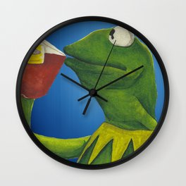 Painted Meme Frog Drinking Tea but it's none of my business Wall Clock