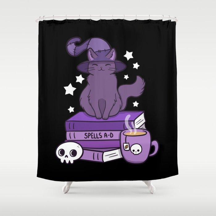 Feline Familiar 02 Black Shower Curtain