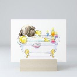 Pug in the Tub (fawn) Mini Art Print