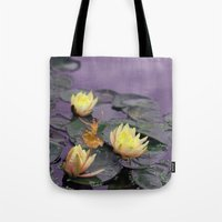 tinker bell Tote Bags featuring tinker bell & tiger lilies by EnglishRose23