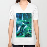 kodama V-neck T-shirts featuring Kodama by Carles Marsal
