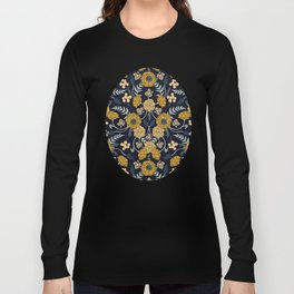 Navy Blue, Turquoise, Cream & Mustard Yellow Dark Floral Pattern Long Sleeve T-shirt