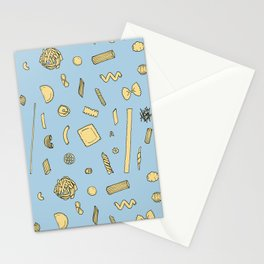 Pasta pattern blue Stationery Cards