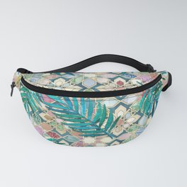 Muted Moroccan Mosaic Tiles with Palm Leaves Fanny Pack