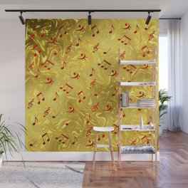 red music notes in golden festive paper background Wall Mural