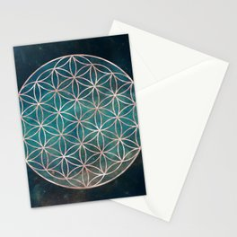 Mandala Flower of Life Rose Gold Space Stars Stationery Cards