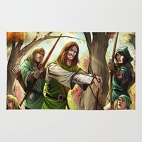 robin hood Area & Throw Rugs featuring Robin Hood and his Merry Women by Eco Comics