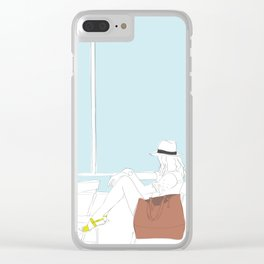 Fashion Girl on the Ferry Clear iPhone Case