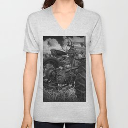 Abandoned Old Farmall Tractor in Black and White Unisex V-Neck