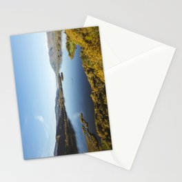 View over Derwent Water to Keswick, Skiddaw and Bassenthwaite Lake. Lake District, UK. Stationery Cards