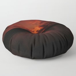 Dark Red Sunset in Montana, Water Reflection, Hues of Red, Sailor's Delight Floor Pillow