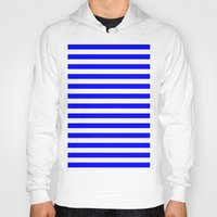 stripes Hoodies featuring Horizontal Stripes (Blue/White) by 10813 Apparel