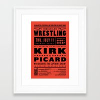 picard Framed Art Prints featuring Kirk vs Picard by KOMBOH