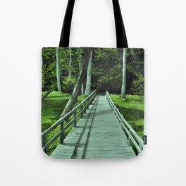 Bridge in the Woods Painting, Print of Original Art, Path in the Forest Art Print, Tote Bag
