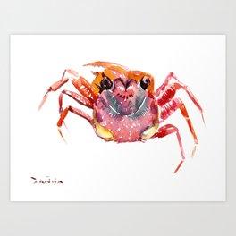 Crab, red pink orange kitchen artwork design Art Print